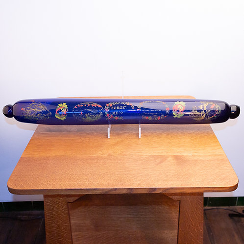 Large 19th Century Bristol Nailsea Blue Glass Mariners Rolling Pin
