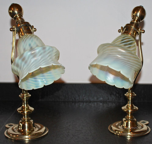 Arts & Crafts Brass Lamps/Powell Shades - SOLD