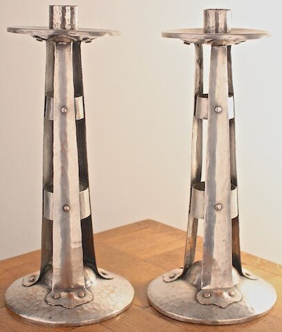 Antique Silver Plated on Copper Candlesticks