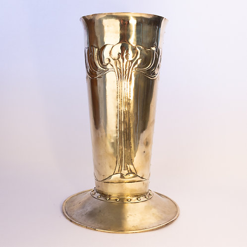 Arts and Crafts Glasgow School Brass Umbrella Stand or Large Vase.