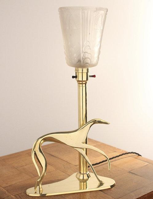 ART DECO Hagenauer Greyhound Antique Brass Table Lamp