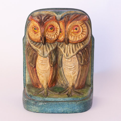 A rare and highly collected example of an Arts and Crafts Compton pottery owl bookend by Mary Seton Watts.
