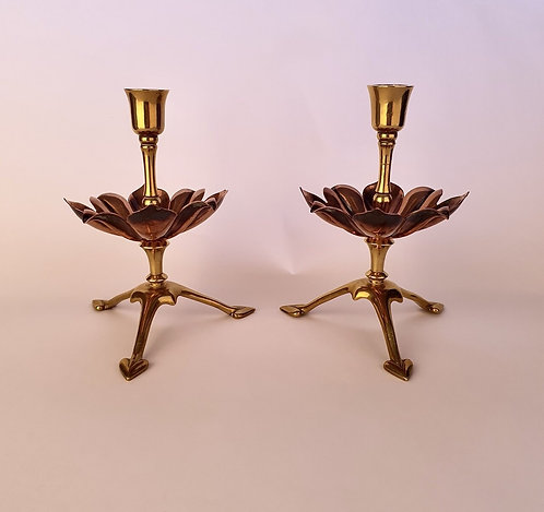 W.A.S. BENSON No.773 Pair of Arts and Crafts Brass and Copper Candlesticks/Candl