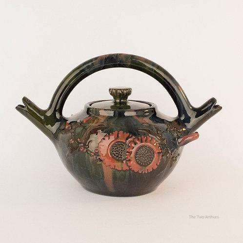 ELTON SUNFLOWER POTTERY Arts and Crafts Double Spout Teapot c. 1900 19cm high.