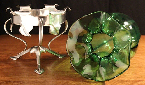 WAS BENSON ANTIQUE SILVER PLATE & GREEN GLASS FLOWER VASE