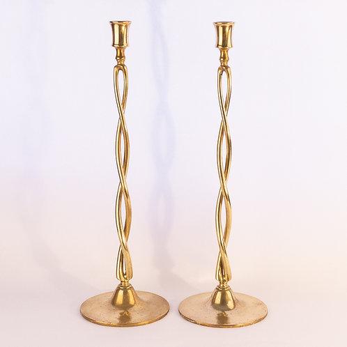 Arts and Crafts Edwardian Flat Spiral Brass Candlesticks 24 inch