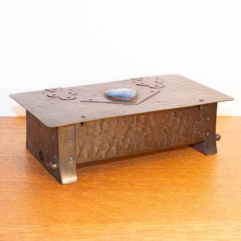 Rare Arts and Crafts A E Jones Ruskin Pottery/Copper Bridge Gaming Box