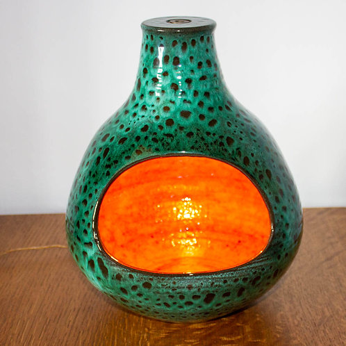 Large Poole Pottery Studio Black Clay Atlantis table lamp by Guy Sydenham