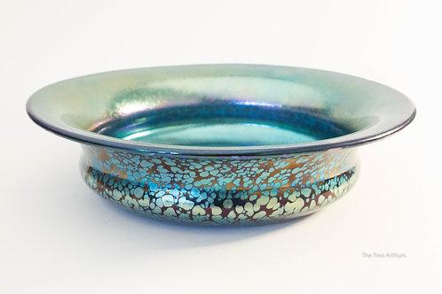LOETZ Art Nouveau Cobalt Papillon Art Glass Bowl, Austria c. 1900 22.3 cm diamet