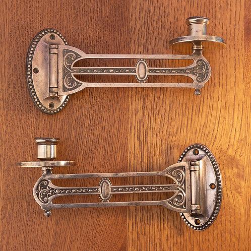Pair Art Nouveau Bronze Jugendstil Secessionist Candle Holders/Piano Sconces
