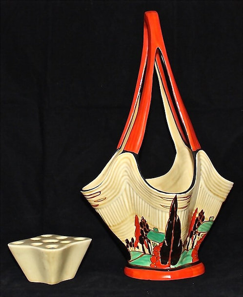 CLARICE CLIFF Art Deco Rare Orange Trees and House Pattern Flower Basket