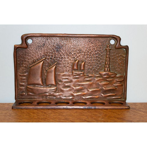 Arts and Crafts Cornish copper spoon rack by J & F Poole of Hayle Newlyn