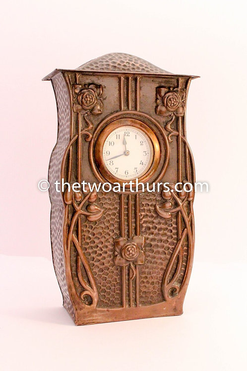 Large Arts and Crafts Copper Mantle Clock