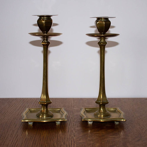 Good Antique Arts and Crafts Brass Candlesticks by William Tonks