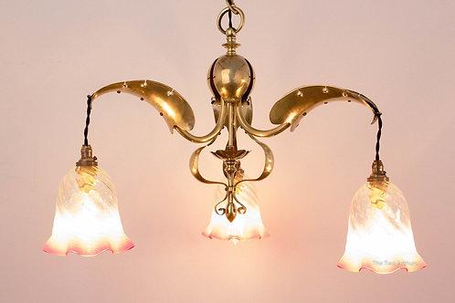 Antique Art Nouveau/Arts and Crafts Brass Ceiling Light/Chandelier c.1910 92cm (