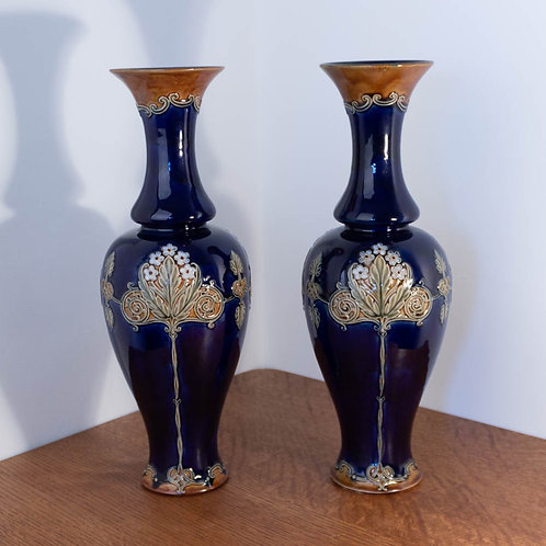 Very Large Pair of Arts and Crafts Royal Doulton Stoneware Vases