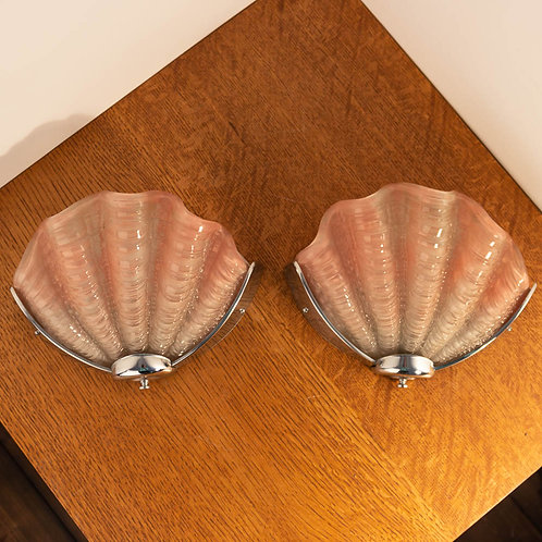1930's Art Deco Soft Pink Pair of Matching Shell Wall Lights