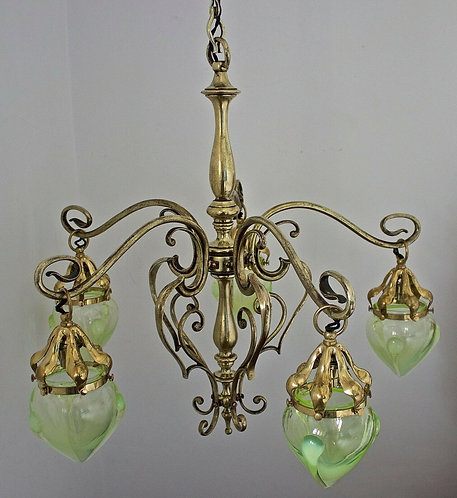 Arts and Crafts Brass 5 Arm Chandelier/Ceiling Light WAS Benson Style