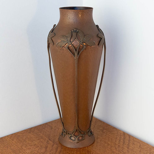 Large WMF Copper and Bronze Austrian Art Nouveau Vase