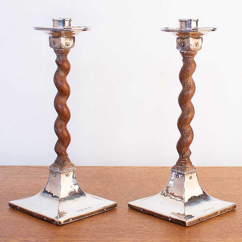 A. E. Jones Arts and Crafts Oak and Sterling Silver Candlesticks