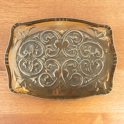 Alexander Ritchie Iona Arts and Crafts Glasgow Style Galleried Brass Tray