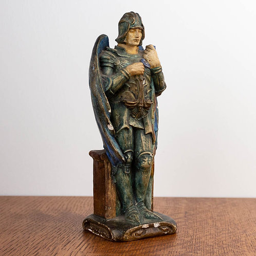 Rare Arts and Crafts Compton Pottery Figure of St Michael by Mary Seton Watts