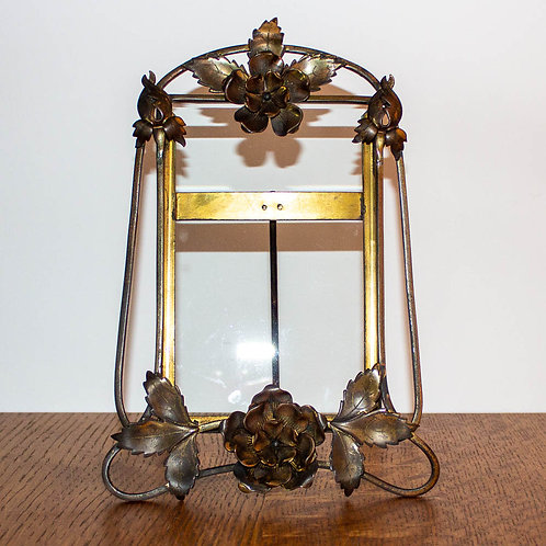 Large Antique Arts and Crafts Brass Photograph Frame