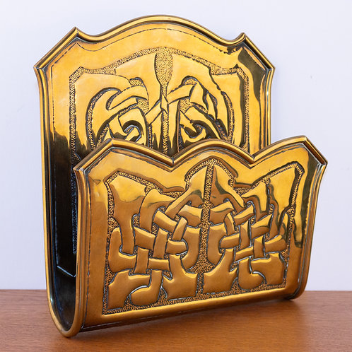 Alexander Ritchie Iona Arts and Crafts Glasgow Brass Newspaper Letter Holder
