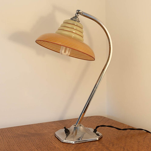 Modernist Art Deco Chrome Table/Desk Lamp/Light with Loetz style glass s
