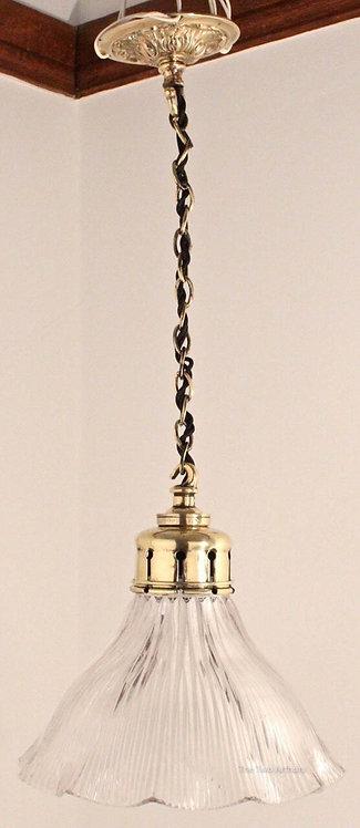 ANTIQUE HOLOPHANE & BRASS PENDANT LAMP