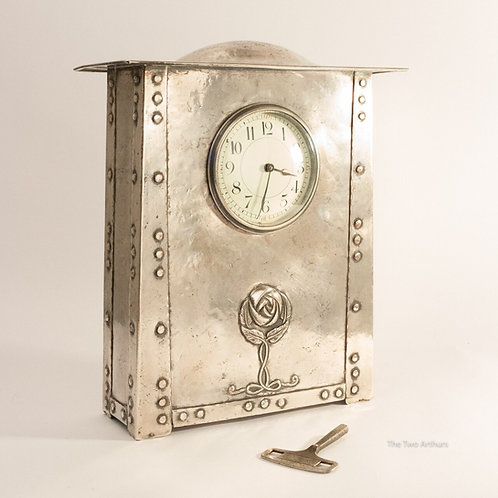Glasgow Style Arts and Crafts Liberty & Co Style Silvered Copper Mantel Clock c.