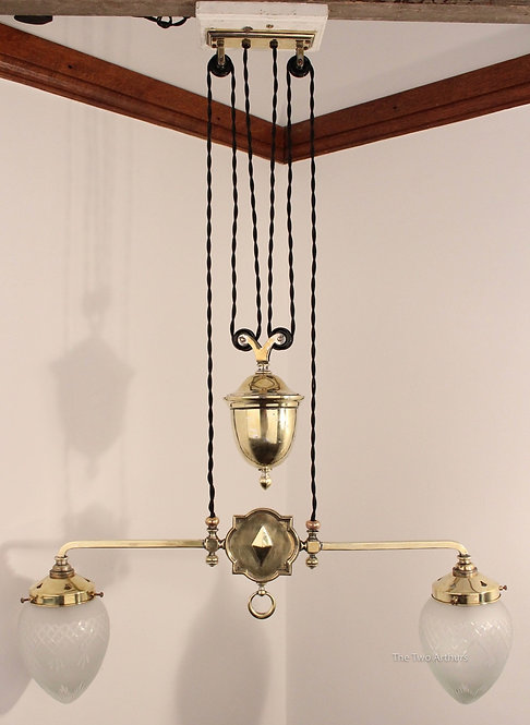 Double Sided Brass Rise/Fall Ceiling Light - SOLD