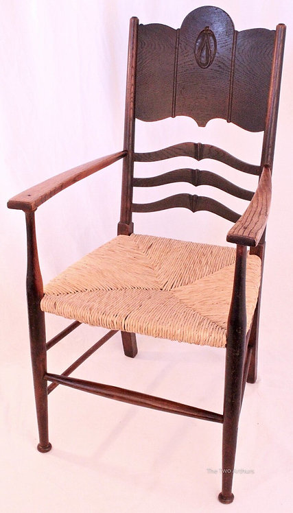 WILLIAM BIRCH Arts and Crafts Carved Tiger Oak Arm Chair c. 1900 105.5cm high