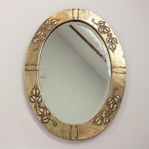 Arts and Crafts Large Oval Hammered Brass Wall Mirror