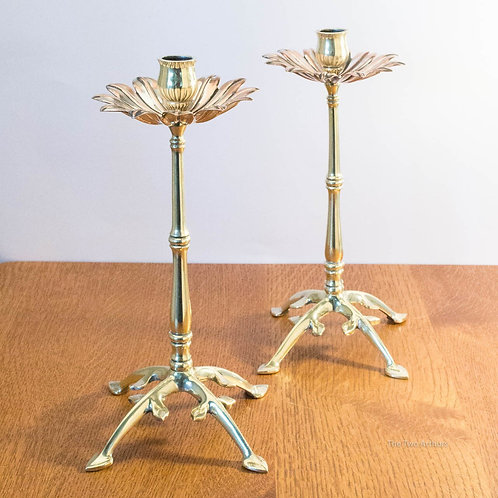 W.A.S. BENSON Pair of Arts and Crafts Brass and Copper Candlesticks / Candle Hol