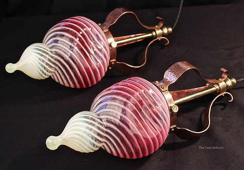 PAIR OF ARTS AND CRAFTS CRANBERRY & VASELINE GLASS CEILING LIGHTS