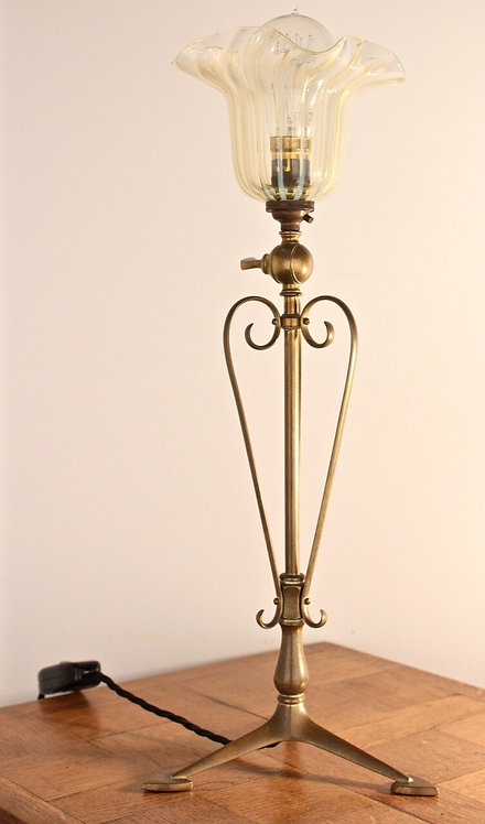 W.A.S. BENSON (1854-1924) Arts and Crafts Brass Table Lamp, c. 1900 47cm high
