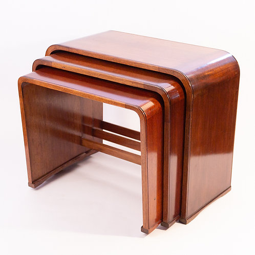 Classic Art Deco Ray Hille Walnut Nest of Tables