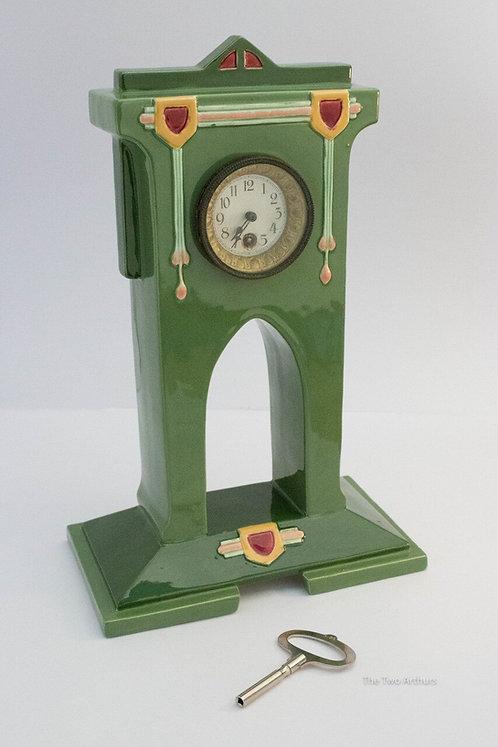 EICHWALD Majolica Secessionist Art Nouveau Bernard Block Mantel Clock c.1915 31.