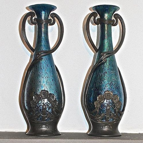 LOETZ Pair of Juventa Pewter Mounted Iridescent Glass Vases