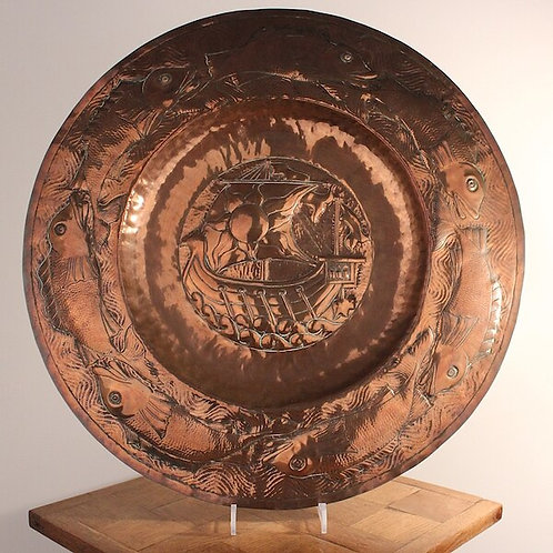 Large Newlyn Style Copper Charger