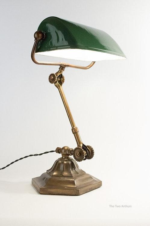 Rare Dugdill Brass & Enamel  Bankers Desk Lamp