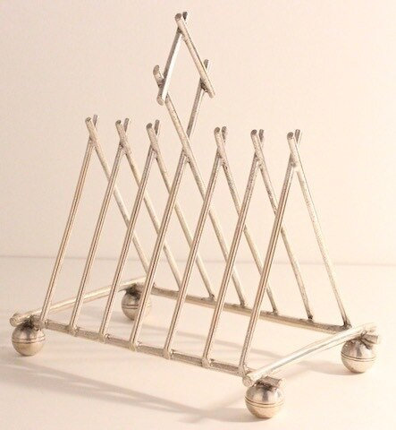 CHRISTOPHER DRESSER STYLE SILVER PLATED TOAST RACK