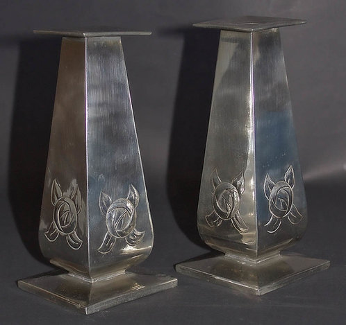 Glasgow School Arts and Crafts Silver Candlesticks by Margaret Gilmour