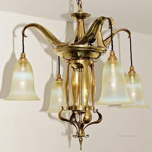 Brass & Vaseline Glass Art Nouveau Ceiling Light/Chandelier c. 1905, 80cm high.