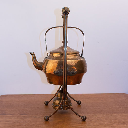 Rare WMF Arts and Crafts Hammered Copper Spirit Kettle on Stand with Burner