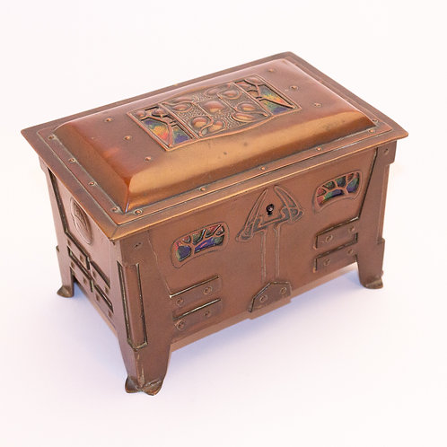 Superb Arts and Crafts Art Nouveau Brass and Enamel Jewellery Casket/Box