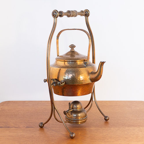 WMF Rare Arts and Crafts Hammered Copper Spirit Kettle on Stand with Burner
