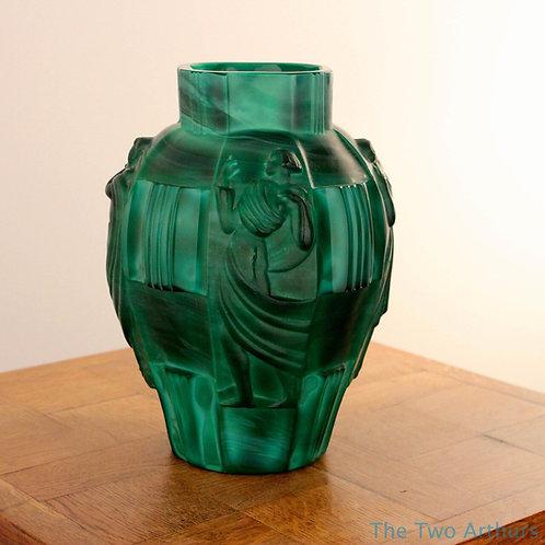 Art Deco Malachite Green Czech Ingrid Glass Vase Heinrich Hoffmann c. 1930 24cm