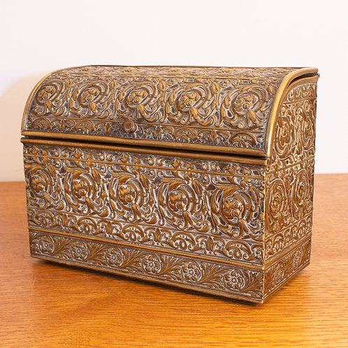 Arts and Crafts Brass Desk Tidy, Stationary Box or Letter Rack c.1900